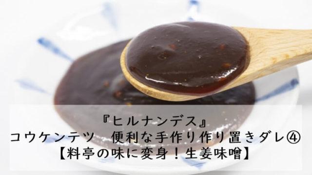 ヒルナンデス コウケンテツ 生姜味噌ダレ 作り置き 調味料