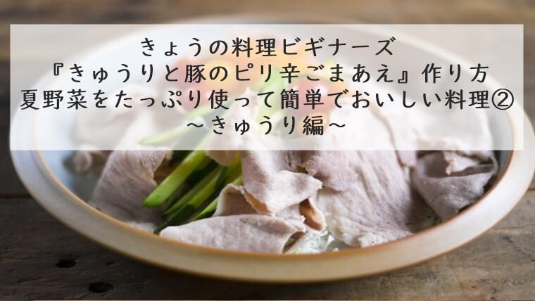 きょうの料理ビギナーズ きゅうりと豚のピリ辛ごま和え 7月1日