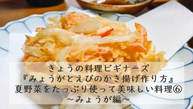 【きょうの料理ビギナーズ7/13】 『みょうがとエビのかき揚げ』作り方|レシピ 藤野嘉子